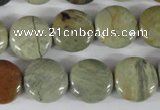 CSL116 15.5 inches 15mm flat round silver leaf jasper beads wholesale