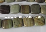 CSL118 15.5 inches 12*12mm square silver leaf jasper beads wholesale