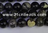 CSL211 15.5 inches 6mm round black silver leaf jasper beads