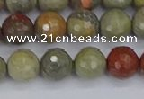 CSL232 15.5 inches 8mm faceted round silver leaf jasper beads