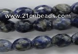 CSO252 15.5 inches 8*12mm faceted rice sodalite gemstone beads