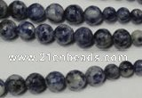 CSO310 15.5 inches 6mm – 14mm faceted round blue spot stone beads