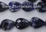 CSO385 15.5 inches 13*17mm faceted flat teardrop natural sodalite beads