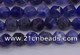 CSO551 15.5 inches 6mm faceted nuggets sodalite gemstone beads