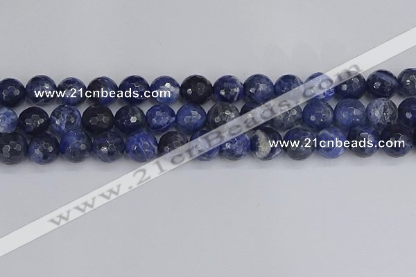CSO562 15.5 inches 12mm faceted round sodalite gemstone beads