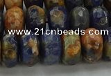 CSO764 15.5 inches 7*12mm faceted rondelle orange sodalite beads
