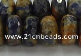 CSO766 15.5 inches 9*16mm faceted rondelle orange sodalite beads