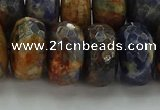 CSO767 15.5 inches 10*18mm faceted rondelle orange sodalite beads
