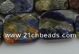 CSO784 15.5 inches 20*20mm faceted square orange sodalite beads