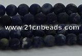 CSO810 15.5 inches 4mm round matte sodalite gemstone beads