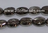 CSQ118 10*14mm facetad oval grade AA natural smoky quartz beads