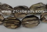 CSQ266 15.5 inches 13*18mm faceted nuggets smoky quartz beads