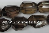 CSQ267 15.5 inches 15*20mm faceted nuggets smoky quartz beads