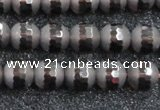 CSQ512 15.5 inches 8mm faceted round matte smoky quartz beads