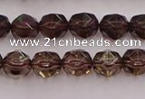 CSQ526 15.5 inches 6mm faceted nuggets smoky quartz gemstone beads