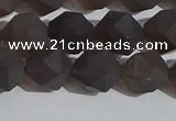 CSQ533 15.5 inches 10mm faceted nuggets matte smoky quartz beads