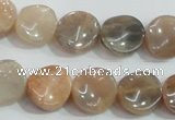 CSS255 15.5 inches 14mm twisted coin natural sunstone beads