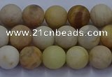 CSS622 15.5 inches 8mm round matte yellow sunstone gemstone beads