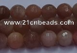 CSS672 15.5 inches 8mm faceted round sunstone gemstone beads
