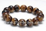 CTB12 8 inches 12mm round yellow tiger eye stretch bracelet