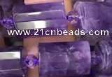 CTB221 15.5 inches 10*15mm faceted tube amethyst beads