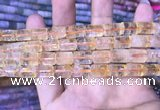 CTB254 15.5 inches 8*12mm tube natural citrine gemstone beads
