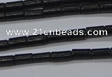 CTB300 15.5 inches 3*6mm tube black stone beads wholesale
