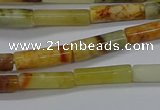 CTB324 15.5 inches 4*13mm tube flower jade beads wholesale