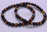 CTB35 7.5 inches 6mm round colorful tiger eye beaded bracelets