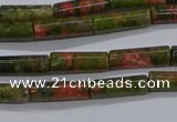CTB350 15.5 inches 4*13mm tube unakite beads wholesale