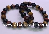 CTB38 7.5 inches 12mm round colorful tiger eye beaded bracelets