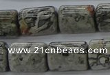 CTB525 15.5 inches 10*13mm triangle grey picture jasper beads wholesale