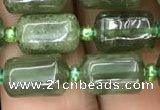 CTB605 15.5 inches 7*11mm tube green strawberry quartz beads wholesale