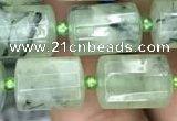 CTB609 15.5 inches 10*14mm faceted tube green rutilated quartz beads