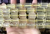 CTB619 15.5 inches 11*16mm - 12*18mm faceted tube lemon quartz beads