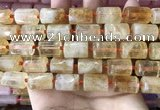 CTB620 15.5 inches 11*16mm - 12*18mm faceted tube citrine beads