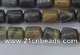 CTB712 15.5 inches 6*8mm tube black picasso jasper beads wholesale