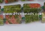 CTB742 15.5 inches 6*10mm - 8*12mm faceted tube unakite beads