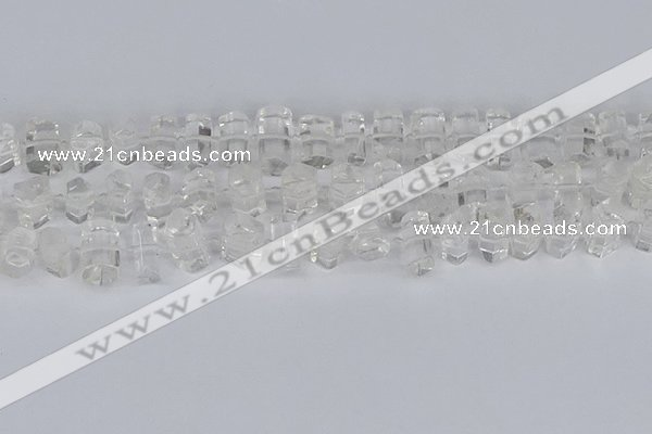 CTB750 15.5 inches 6*10mm - 8*12mm faceted tube white crystal beads