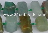 CTB755 6*10mm - 8*12mm faceted tube blue & green kyanite beads