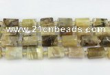 CTB871 13*25mm - 14*19mm faceted tube yellow opal beads