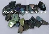 CTD1167 Top drilled 15*25mm - 30*40mm freeform plated agate beads