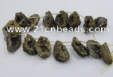 CTD1176 Top drilled 25*30mm - 35*40mm freeform plated druzy quartz  beads
