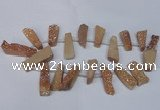 CTD1609 Top drilled 13*25mm - 15*45mm freeform plated druzy quartz beads