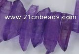 CTD1699 Top drilled 8*15mm - 11*35mm sticks dyed white crystal beads