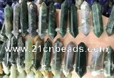 CTD2245 Top drilled 10*22mm - 12*45mm faceted nuggets Indian agate beads