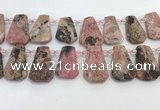 CTD2360 Top drilled 16*18mm - 20*30mm faceted freeform rhodonite beads