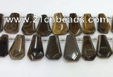 CTD2365 Top drilled 16*18mm - 20*30mm faceted freeform tiger eye beads