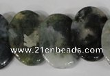 CTD24 Top drilled 20*30mm oval moss agate beads wholesale