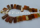 CTD2608 Top drilled 14*27mm - 16*42mm rectangle agate beads
